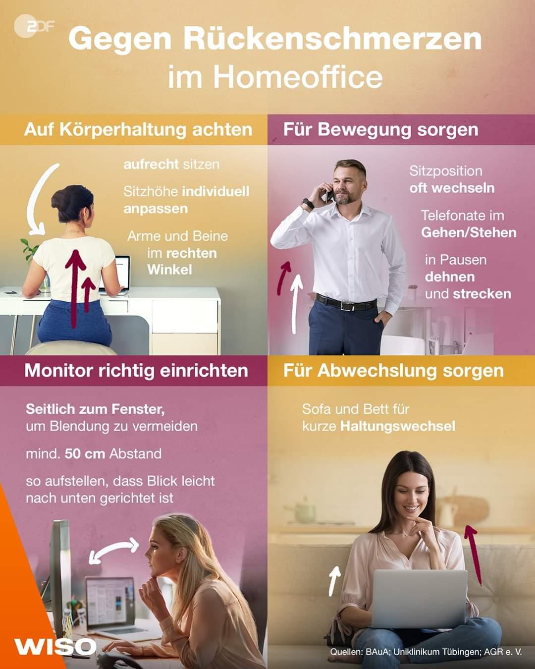 Rückenschmerzen im Home Office vermeiden (Bild: ZDF WISO)