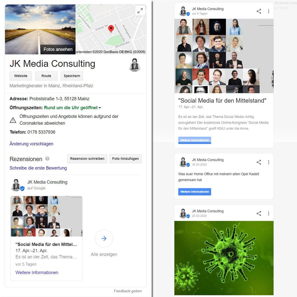Google My Business - Nachrichten (Bild: Screenshot)